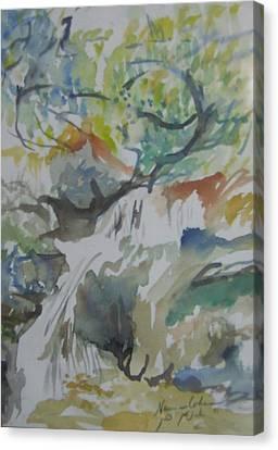 Jordan River Waterfall Canvas Print by Esther Newman-Cohen