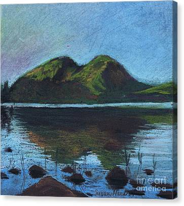 Canvas Print featuring the painting Jordon Pond And The Bubbles by Susan Herbst