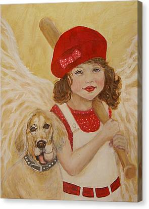 Joscelyn And Jolly Little Angel Of Playfulness Canvas Print by The Art With A Heart By Charlotte Phillips