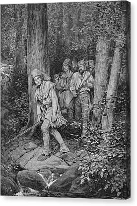 Brandywine Canvas Print - Joseph Brown Leading His Company To Nicojack, The Stronghold Of The Chickamaugas, Engraved by Howard Pyle