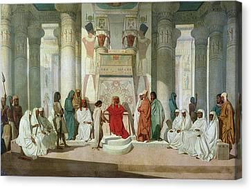 Joseph Explaining Pharaohs Dreams Oil On Canvas Canvas Print by Jean Adrien Guignet