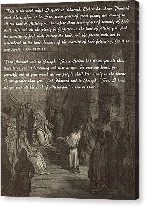 Joseph Interpreting Pharaoh's Dream Canvas Print by Antique Engravings