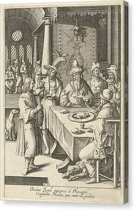 Joseph Interprets The Dreams Of Pharaoh, Print Maker Robert Canvas Print by Robert De Baudous And Lucas Van Leyden
