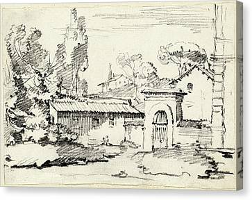 Villa Canvas Print - Joseph-marie Vien, Entrance To The Gardens Of The Villa by Quint Lox