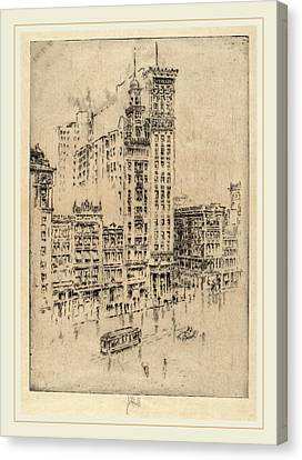 Joseph Pennell, Union Square, Rainy Day, American Canvas Print by Litz Collection