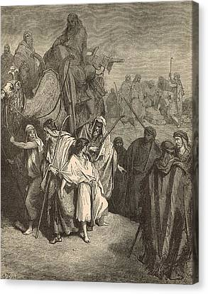 Joseph Sold Into Egypt Canvas Print by Antique Engravings