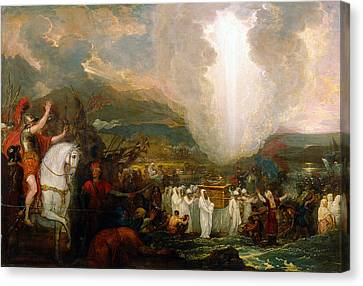 Joshua Passing The River Jordan With The Ark Of The Covenant Canvas Print by Benjamin West