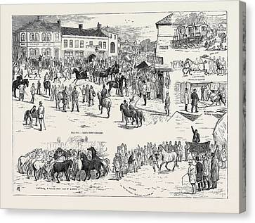 Jottings At The Horncastle Horse Fair, August 22 Canvas Print by English School