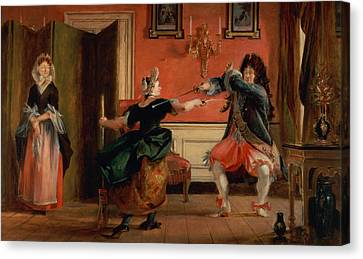 Jourdain Fences His Maid, Nicole With His Wife Looking On. Scene From Le Bourgeois Gentilhomme, Act Canvas Print