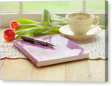 Journal And Coffee Canvas Print by Kay Pickens