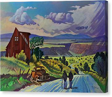 Canvas Print featuring the painting Journey Along The Road To Infinity by Art James West