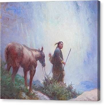 Journey To The Sacred Falls Canvas Print by Ernest Principato