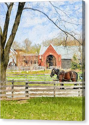 Canvas Print featuring the painting Journey To The Village by Ike Krieger