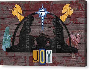 Joy Nativity Scene Recycled License Plate Art Canvas Print