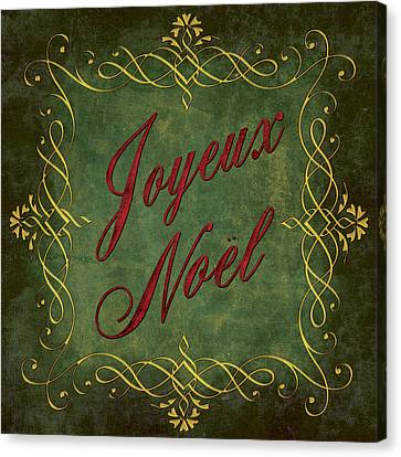 Joyeux Noel In Green And Red Canvas Print