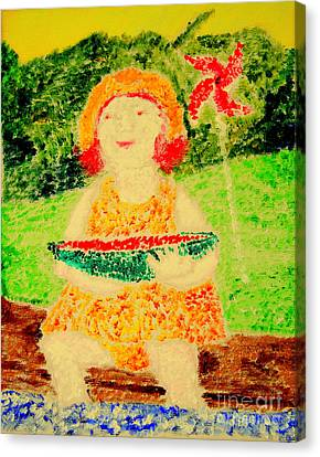 Canvas Print featuring the painting Joyful Summer 1 by Richard W Linford