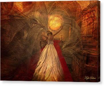 Canvas Print featuring the digital art Joyous Bride by Kylie Sabra