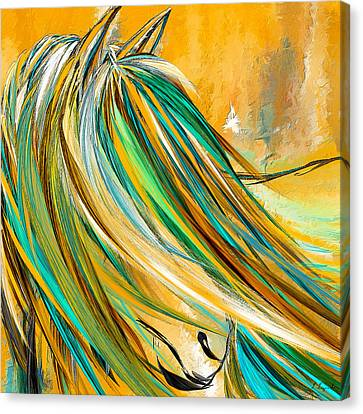 Bay Horse Canvas Print - Joyous Soul- Yellow And Turquoise Artwork by Lourry Legarde