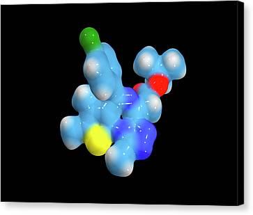 Jq1 Experimental Drug Molecule Canvas Print by Dr Tim Evans