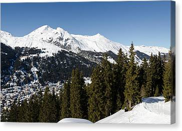 Jschalp Forest Davos Mountains And Town Canvas Print by Andy Smy