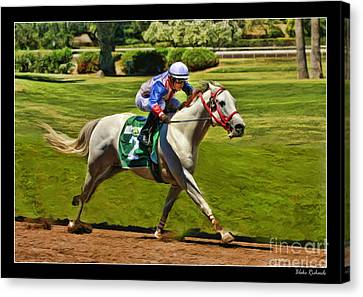 Juan Sanchez On Horse Sammy V  Canvas Print by Blake Richards