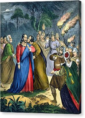 Judas Betrays His Master, From A Bible Canvas Print