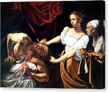 Judith And Holofernes After Caravaggio Canvas Print by Massimo Tizzano