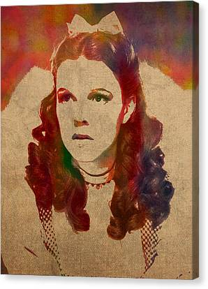 Judy Garland As Dorothy Gale In Wizard Of Oz Watercolor Portrait On Worn Distressed Canvas Canvas Print