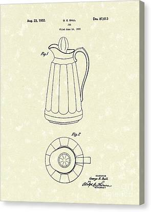Jug 1932 Patent Art Canvas Print by Prior Art Design