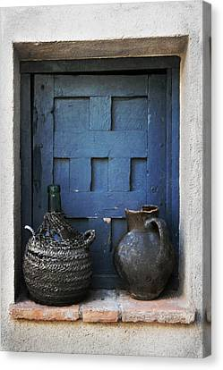 Jugs And Blue Window Canvas Print