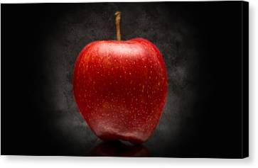 Canvas Print featuring the photograph Juicy Red Apple by Aaron Berg
