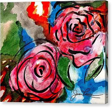 Canvas Print featuring the painting Juicy Red Roses by Joan Reese