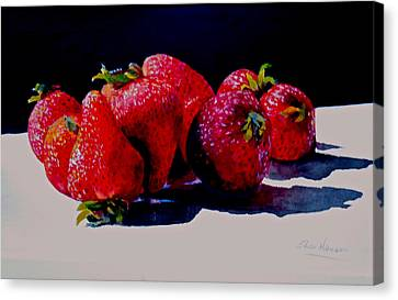 Juicy Strawberries Canvas Print by Sher Nasser