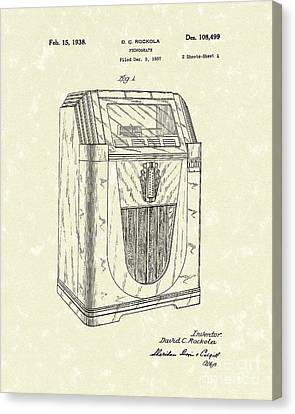 Jukebox 1938 Patent Art  Canvas Print by Prior Art Design