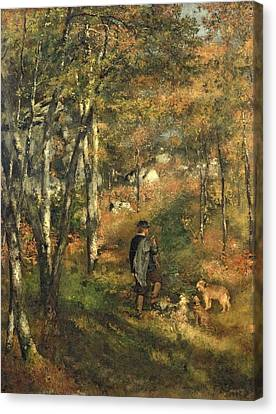 Walking The Dog Canvas Print - Jules Le Coeur In The Forest Of Fontainebleau, 1866 by Pierre Auguste Renoir