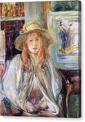 Youthful Canvas Print - Julie Manet With A Straw Hat by Berthe Morisot