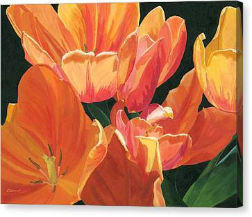 Canvas Print featuring the painting Julie's Tulips by Lynne Reichhart