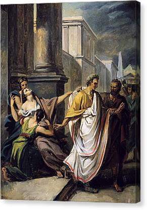 Julius Caesar 100-44 Bc On His Way To The Senate On The Ides Of March Oil On Canvas Study Canvas Print