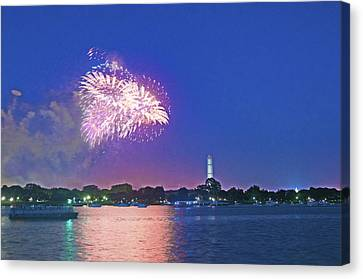 July 4th Fireworks Along The Potomac Canvas Print by Steven Barrows