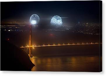 July Fourth Over The Bay Canvas Print by Daniel Furon