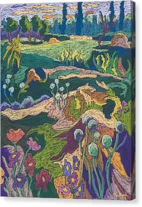 July Terrain, 2008 Pastel On Paper Canvas Print