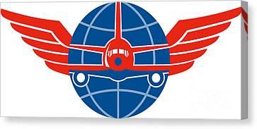 Jumbo Jet Plane Front Wings Globe Canvas Print by Aloysius Patrimonio