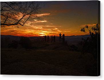 Blue Ridge Mountains Canvas Print - Jump Off Rock Sunset Silhouettes by John Haldane