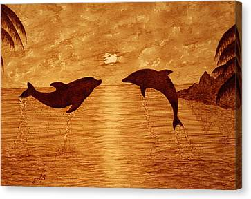 Jumping Dolphins At Sunset Canvas Print by Georgeta  Blanaru
