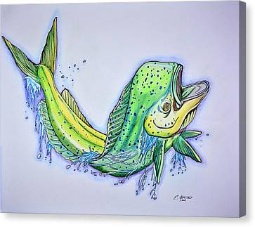 Jumping Mahi Canvas Print by Edward Johnston