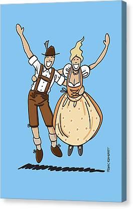 Jumping Oktoberfest Lovers Canvas Print by Frank Ramspott
