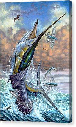 Jumping Sailfish And Flying Fishes Canvas Print