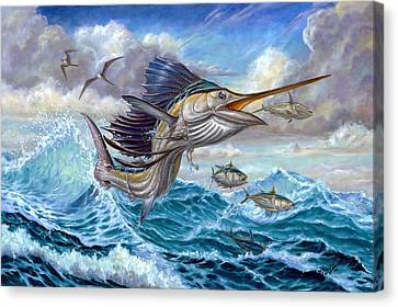 Jumping Sailfish And Small Fish Canvas Print