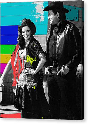 Canvas Print featuring the photograph June Carter Cash Johnny Cash In Costume Old Tucson Az 1971-2008 by David Lee Guss