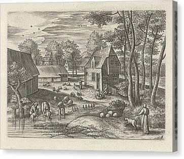 June, Julius Goltzius, Gillis Mostaert Canvas Print by Julius Goltzius And Gillis Mostaert (i) And Claes Jansz. Visscher (ii)